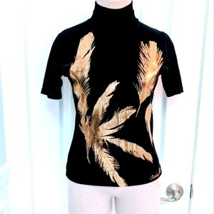 Vintage Sandro Paris Black and Gold Top Small?
